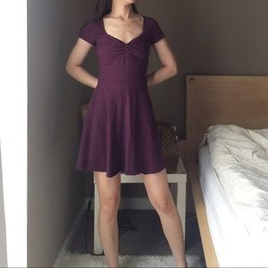 Hollister Maroon Stretchy Knot Front Skater Dress